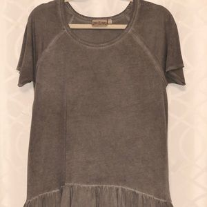 Gray Blouse with Ruffled Bottom